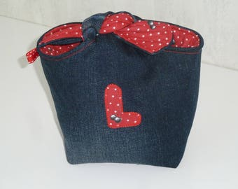 Knotted pouch recycled denim, L, inside cotton red pattern black cherries