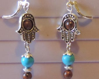 Hand of Fatima with turquoise howmite and Red Obsidian earrings