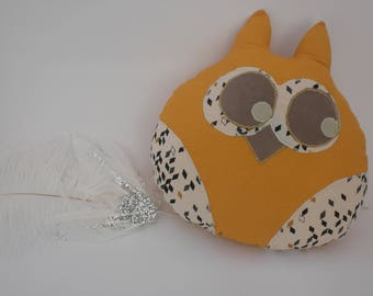 blanket/pillow chic OWL mustard
