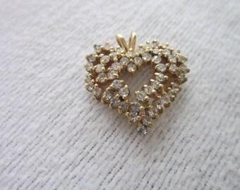 Vintage Gold Tone & Cluster Rhinestones Stylized Heart Necklace Pendant Pretty