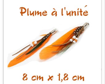 Orange Black Brown l ' single white feather pendant