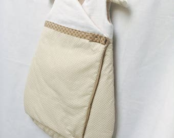 Sleeping bag 0-6 months in white cotton and taupe