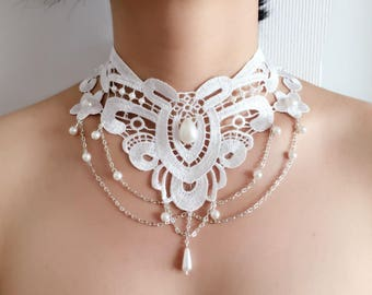 Necklace/necklace in vintage style white lace wedding romantic wedding/ceremony