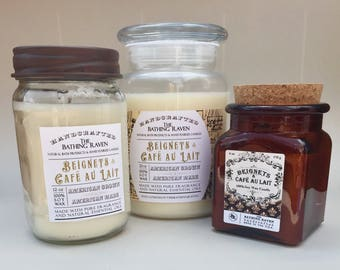 BEIGNETS & CAFE Au LAIT- 100% soy candles, 3 sizes available