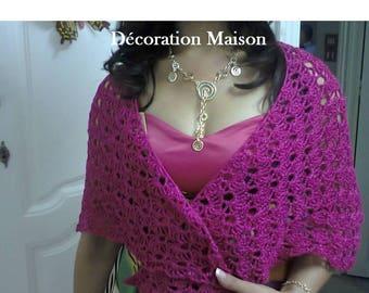 Indian pink handmade crochet shawl