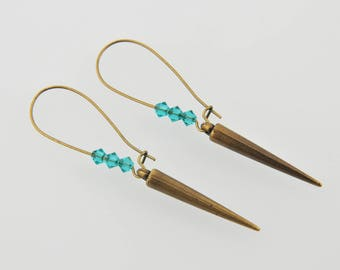 Bronze earrings, spike and crystal clear Emerald