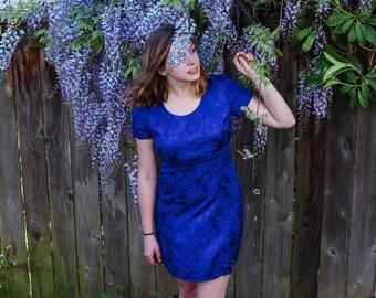 90s blue satiny dress