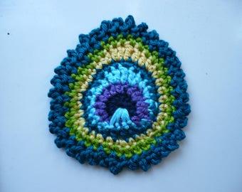 Peacock feather applique feather Peacock multicolored cotton crochet