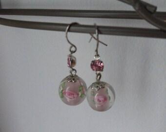 Floral bead earrings