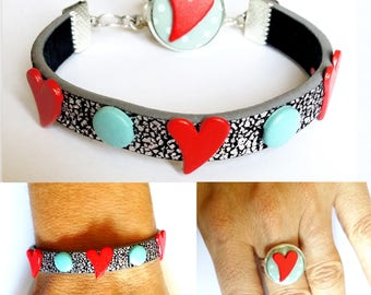 """Rivets hearts red and blue pads set """"Baby Blue Love"""" Silver leatherette"""