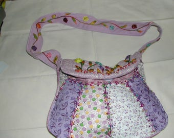 Hand embroidered purple toned patchwork bag
