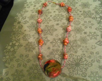 beautiful unique and original necklace pink