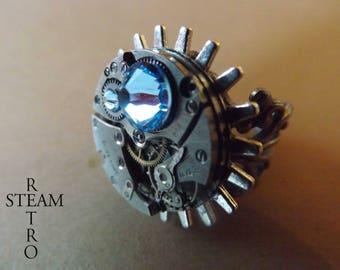 Navy steampunk Voltaire Aqua filigree ring