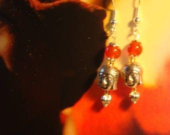 Silver and Red carnelian earrings