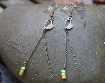 Bronze heart and chain earrings
