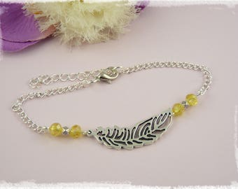 Anklet - yellow feather