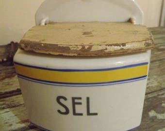 Vintage French Porcelain Wall Mounted Sel Pot with Wooden Lid. Salt holder
