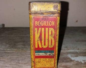 Vintage French KUB Bouillon Red And Yellow Tin Box,Kitchen Decor,Rustic,Decorative,Gift