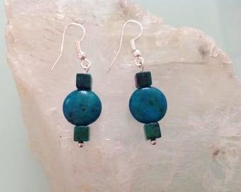 Blue/Green Chrysocolla stone earrings.