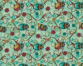 OWL pattern cotton fabric coupon