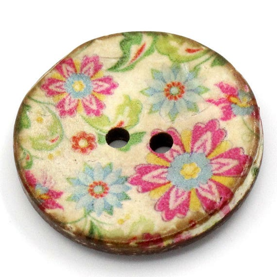 BCO30108 - 1 BUTTON ROUND 30 MM COCO WITH PATTERN COLORS