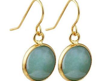 Round dangle earrings plated gold - aventurine