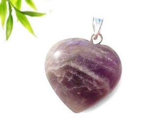 Silver plated - Amethyst heart pendant