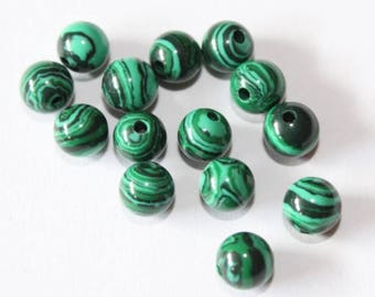 malachite 6 mm, black and green, set of 10 beads