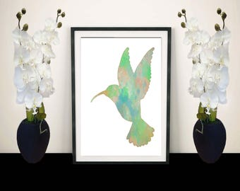 Spring watercolor art - Hummingbird print - Watercolor print - Watercolor art - Original watercolor print - Handmade - 8x10 print
