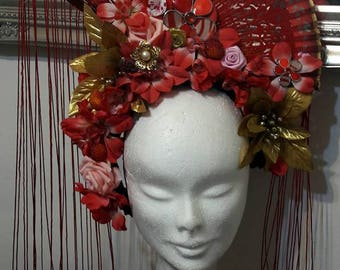 Headdress flowers artificial evatail red and gold