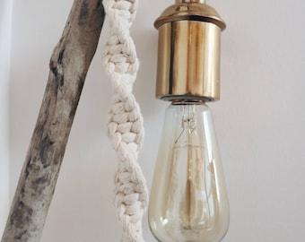 PATTI // Macrame wall light with brass fixture, Cotton