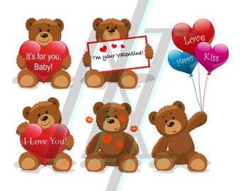 Teddy Bear Pattern - Teddy Bear Clipart - Teddy Bear Picnic - Teddy Bear SVG - Love SVG - Kiss SVG - Clipart Vector - Clipart Svg Silhouette