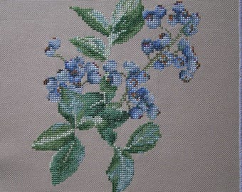 Embroidery blue blueberries