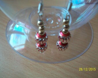 Red and silver metal bead earrings