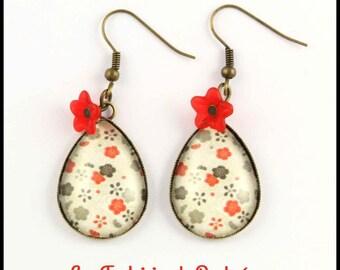 Japanese flower pattern earrings