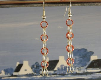 Earrings silver dangle hoops and colors