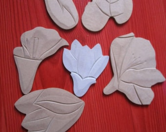 set of various flowers molded wooden shapes