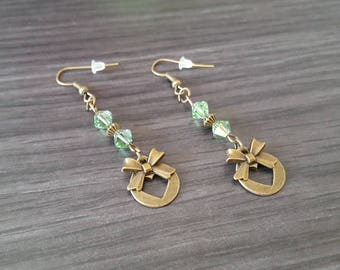 Round green heart Earrings