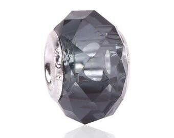 set 2 bead round, glass - black European charm 14 * 8 * 5 mm