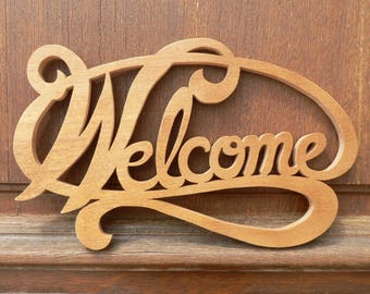 """Welcome"" door plaque wooden fretwork cut"