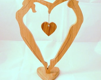 """""""Les amoureux"""" Valentine's heart in woodcut (fretwork)"""