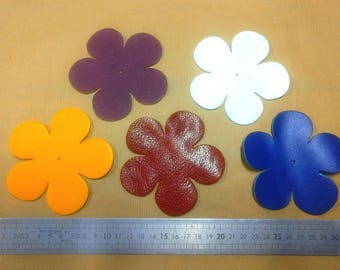 Set of 5 leather flowers