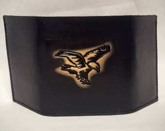 Eagle Embossed Trifold Leather Wallet