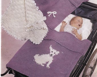 Babies pram rugs~rug with bows~rug with dog motif~white rug wit ribbons.