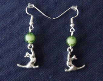 Cat 3D green ball earrings