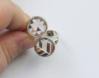 double silver metal glass cabochon ring