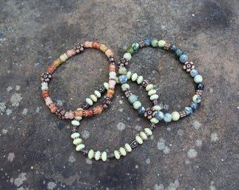 Set of 3 semi-precious bracelets