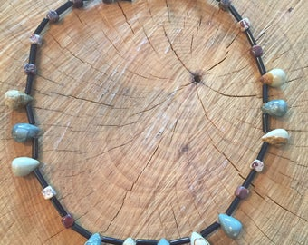Earth stone beaded necklace