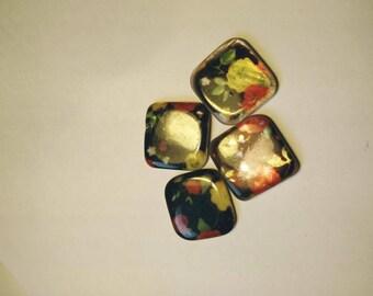 4 square porcelain flower beads