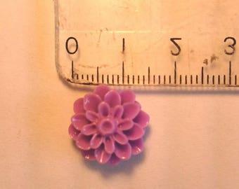 Acrylic cabochon style purple flower